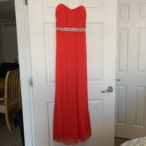 Tangerine Floor Length Prom Dress